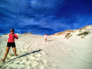 Running down the dunes, Balandra